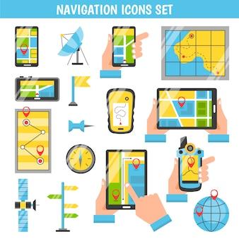 Ícones decorativos de cor lisa de navegação
