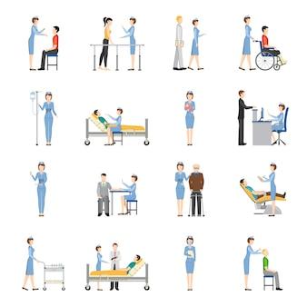 Ícones decorativos de cuidados de saúde de enfermeira