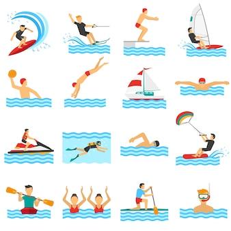 Ícones decorativos de esporte de água