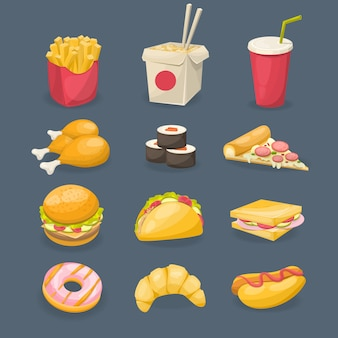 Ícones decorativos de fast-food