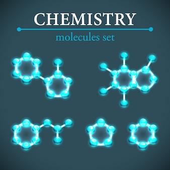 Ícones decorativos de moléculas brilhantes azuis de conceito de química isolados
