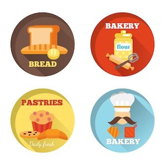 Ícones decorativos de padaria