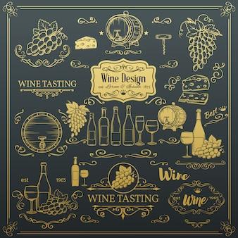 Ícones decorativos de vinho vintage.