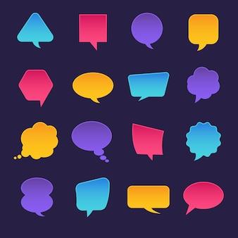 Ícones definir mensagem de bolha para texto. ilustrações.