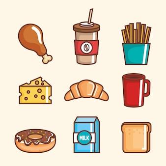 Ícones deliciosos de fast food