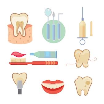 Ícones dentais definidos estilo cartoon