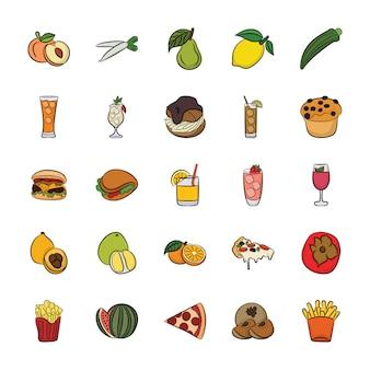 Ícones desenhados à mão de alimentos e bebidas