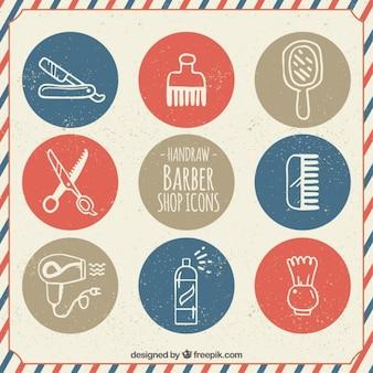 Ícones desenhados mão do barbeiro no estilo do vintage