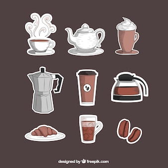 Ícones desenhados mão do coffee shop