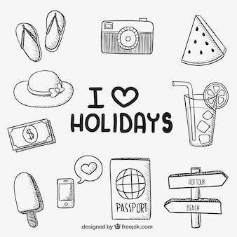 Ícones desenhados mão do feriado