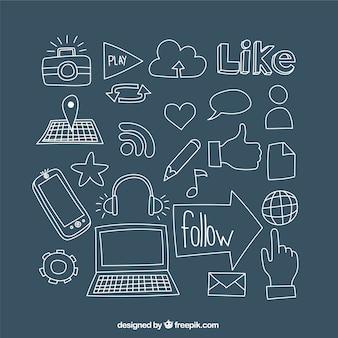 Ícones desenhados mão do social media