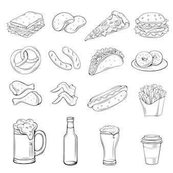 Ícones desenhados mão para street cafe
