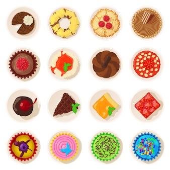 Ícones detalhados da opinião superior da sobremesa ajustados. ilustração dos desenhos animados de 16 ícones de vetor detalhada de vista superior de sobremesa para web