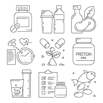 Ícones dietéticos de aptidão, esporte atividades alimentos suplemento saúde vitaminas ginásio exercício bem treinando símbolos de linha