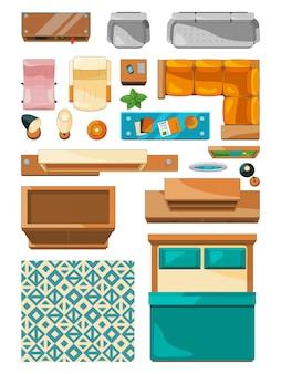 Ícones diferentes de vista superior de móveis