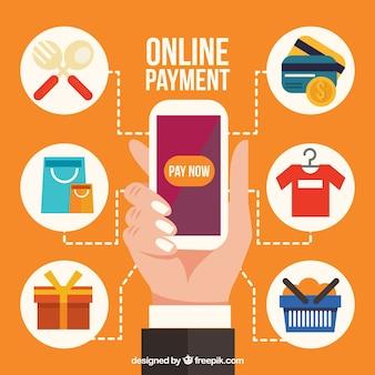 Ícones diferentes sobre o pagamento eletrônico