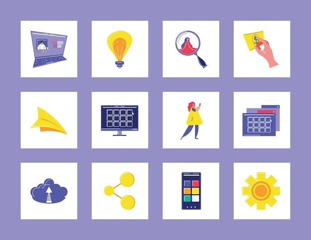 Ícones digitais de dados de mídia social