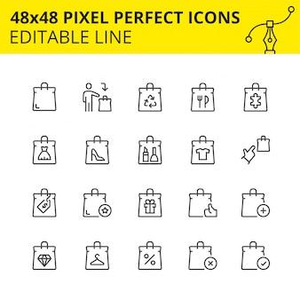 Ícones dimensionados para uso em vendas para web, dispositivos móveis e outro marketplace