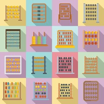 Ícones do ábaco definir vetor plana. cálculo contábil. educação matemática
