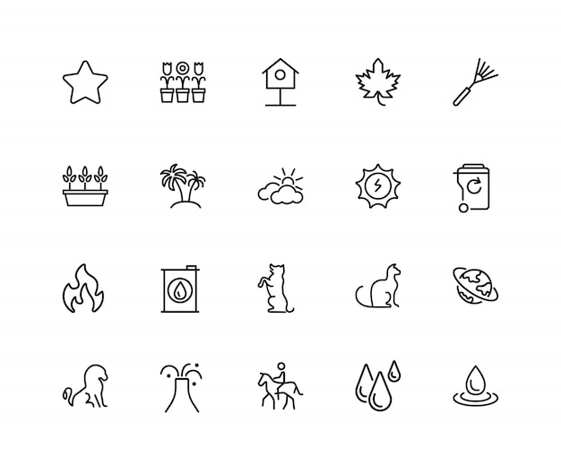 Ícones do ambiente. conjunto de ícones de vinte linhas. estrela, palmeiras, vulcões.