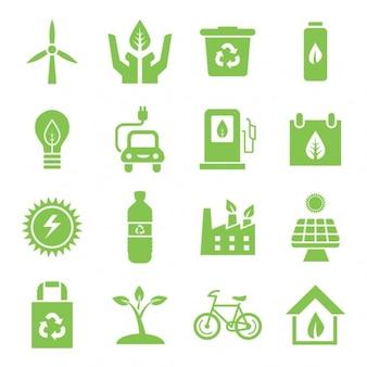 ícones do ambiente verdes ajustados