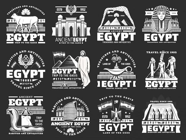 Ícones do antigo egito, pontos turísticos de viagens e turismo