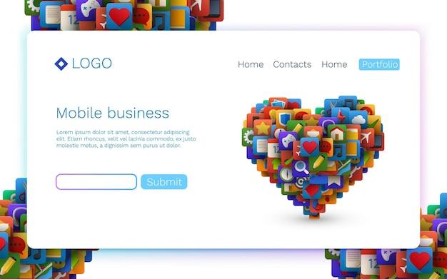 Ícones do aplicativo em forma de coração. tecnologia móvel. conceito de página inicial.
