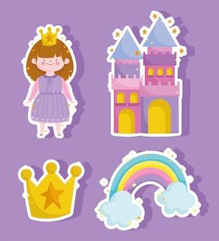 Ícones do arco-íris do castelo da princesa e adesivos mágicos da coroa