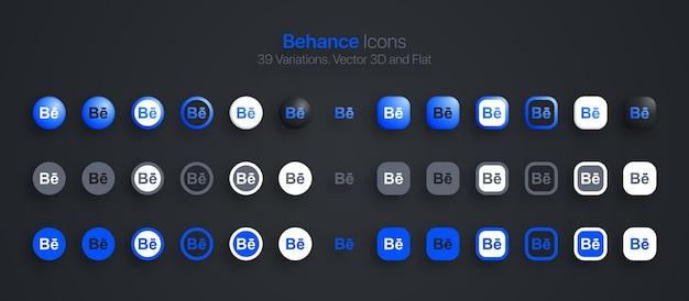 Ícones do behance definidos em 3d moderno e plano em diferentes variações