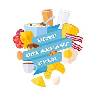 Ícones do café da manhã com ilustração da fita. cartaz de refeição da manhã.