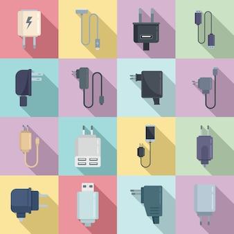 Ícones do carregador definir vetor plana. carregador de celular. cabo usb