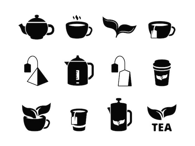 Ícones do chá preto. fabricação de bebidas quentes à base de plantas geladas e folhas conjunto de pictograma.