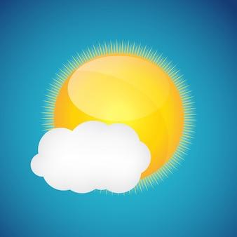 Ícones do clima com sol e nuvem