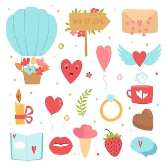 Ícones do conceito de amor. símbolos de romance casamento flores corações envelope bolo vetor coleção de fotos planas. elementos de ilustração de romance e coração, expressão de amor romântico