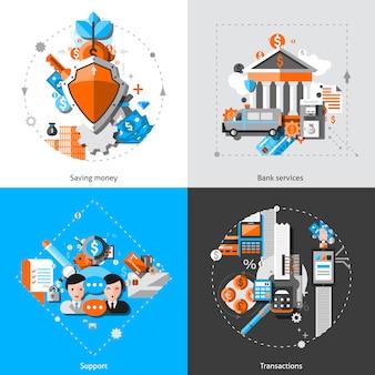 Ícones do conceito de banca