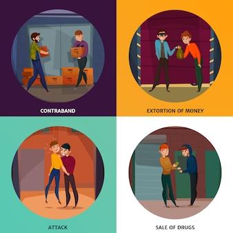 Ícones do conceito de criminosos definidos com símbolos de ataque e drogas isolados de forma plana