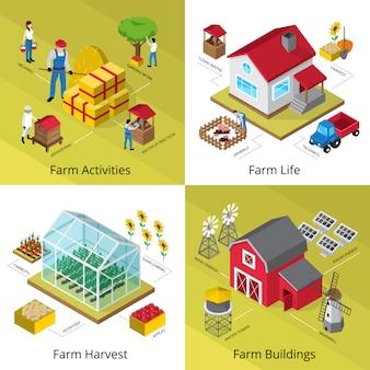 Ícones do conceito de vida de agricultura quadrada com instalações de fazenda de colheita de equipamentos de colheita de efeito estufa