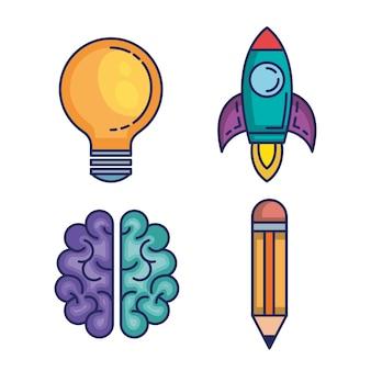 Ícones do conjunto de ataques de cérebro