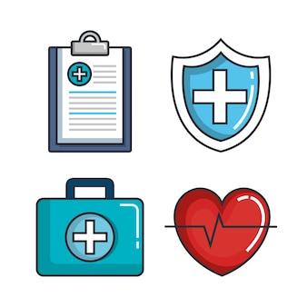Ícones do conjunto de medicamentos para saúde