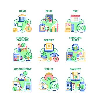 Ícones do conjunto de operações financeiras