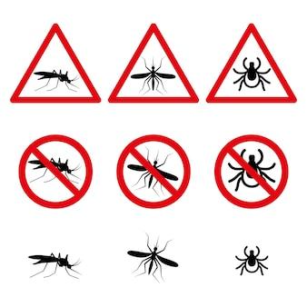 Ícones do conjunto de símbolos anti-mosquito e ácaro