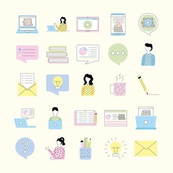 Ícones do conjunto de tecnologia online educacional