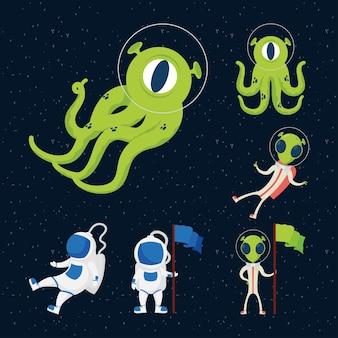 Ícones do conjunto espacial de alienígenas e astronautas