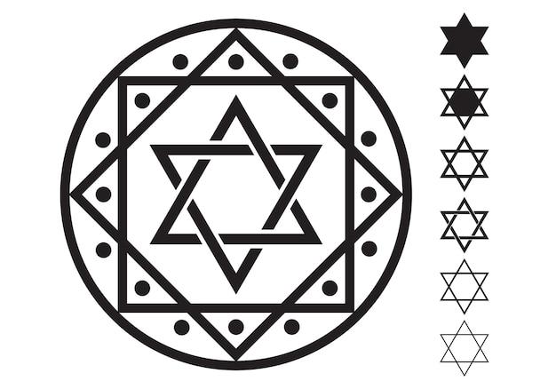 Ícones do design de estrela de davi judaica de seis pontas