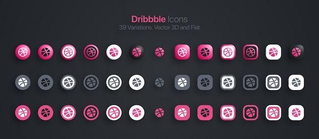 Ícones do dribbble definidos em 3d moderno e plano em diferentes variações