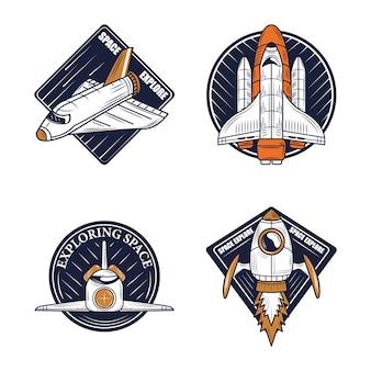 Ícones do emblema espacial embalam diferentes naves espaciais de exploração
