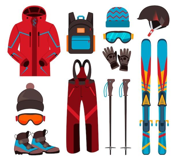 Ícones do equipamento de esqui. defina esquis e bastões de esqui. equipamento de inverno equipamento de esqui em família para férias, atividades ou viagens. recreação fria de esqui de montanha de esporte de inverno. equipamento de esqui.