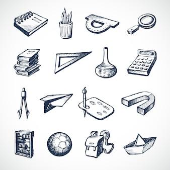 Ícones do esboço da escola