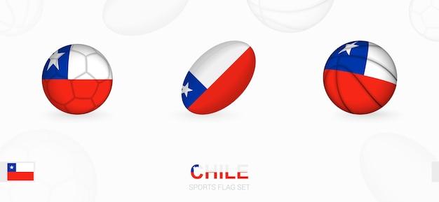 Ícones do esporte para futebol, rugby e basquete com a bandeira do chile