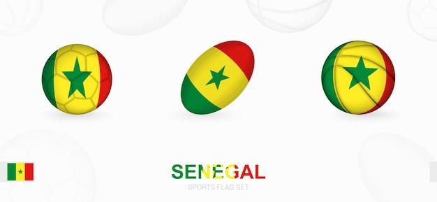 Ícones do esporte para futebol, rugby e basquete com a bandeira do senegal.